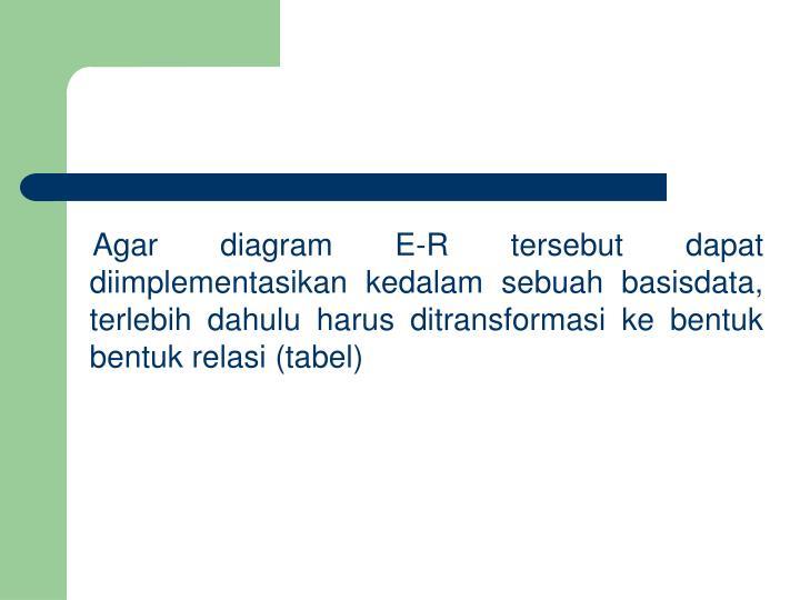 Agar diagram E-R tersebut dapat diimplementasikan kedalam sebuah basisdata, terlebih dahulu haru...