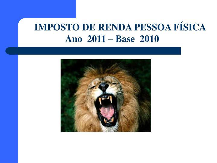 IMPOSTO DE RENDA PESSOA FÍSICA