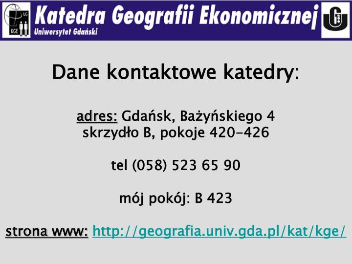 Dane kontaktowe katedry:
