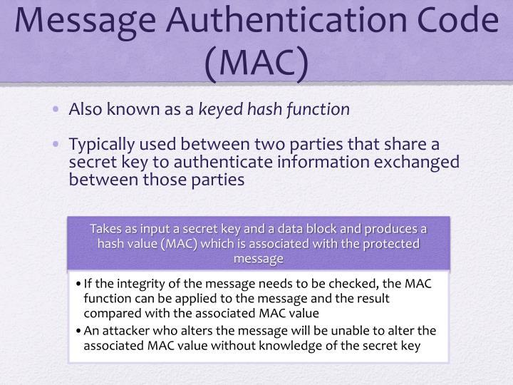 Message Authentication Code (MAC)