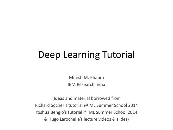 PPT - Deep Learning Tutorial PowerPoint Presentation - ID