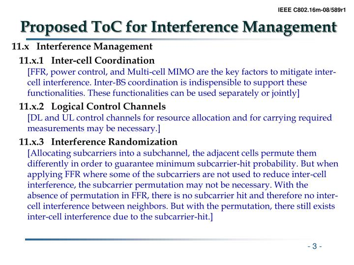 Proposed toc for interference management