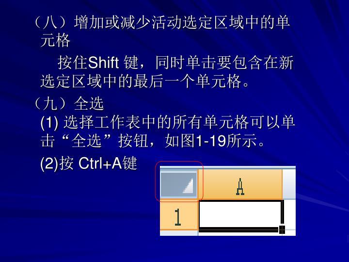 (八)增加或减少活动选定区域中的单元格