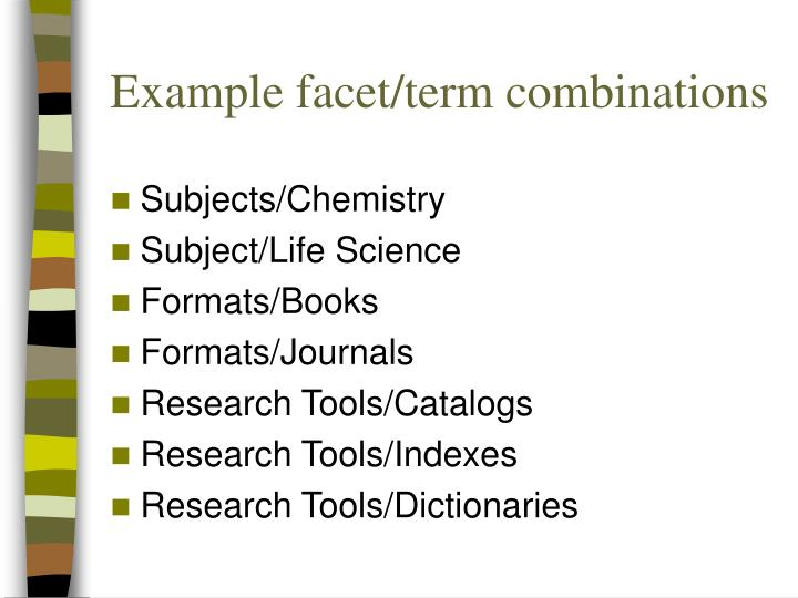 Example facet/term combinations