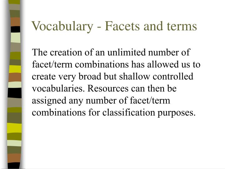 Vocabulary - Facets and terms