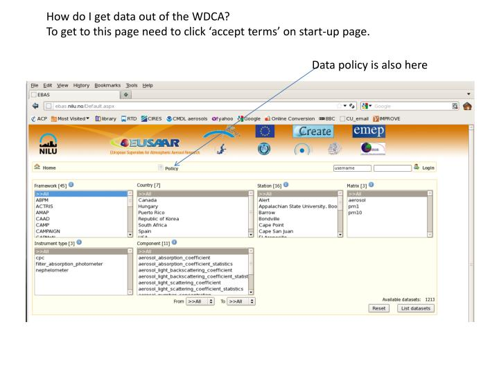 How do I get data out of the WDCA?