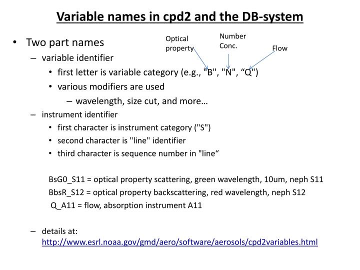 Variable names in cpd2 and the DB-system