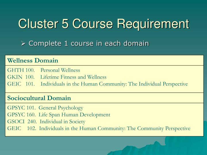 Cluster 5 course requirement