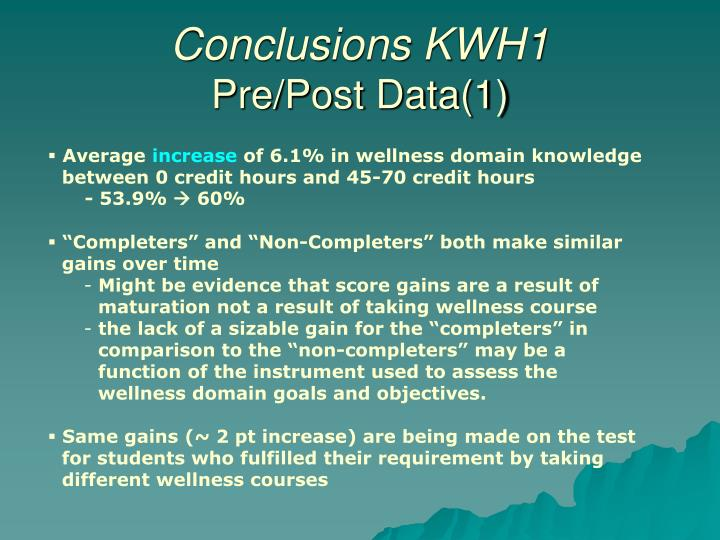 Conclusions KWH1
