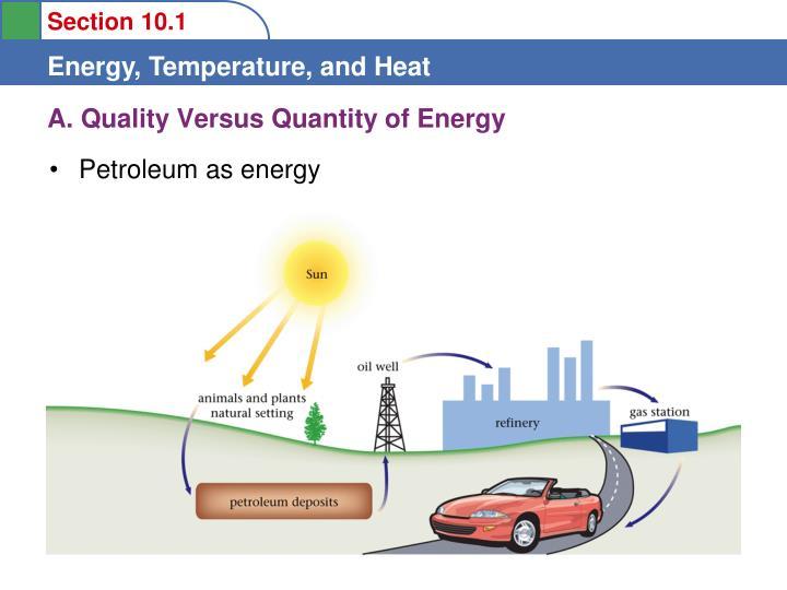 A. Quality Versus Quantity of Energy