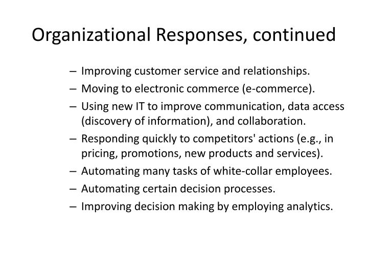 Organizational Responses, continued