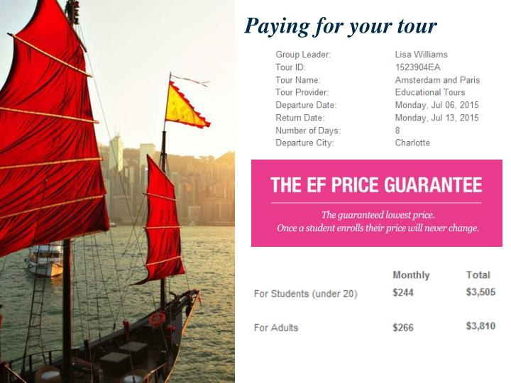 Paying for your tour