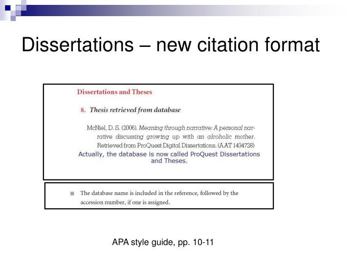Dissertations – new citation format