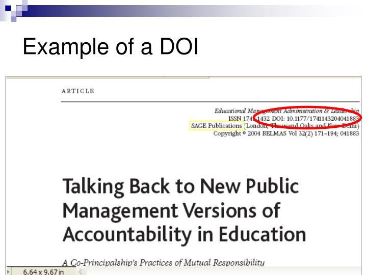 Example of a DOI