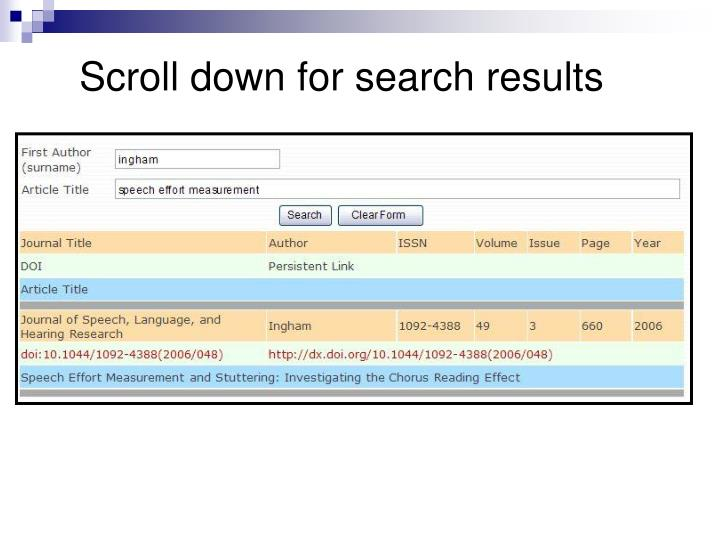 Scroll down for search results