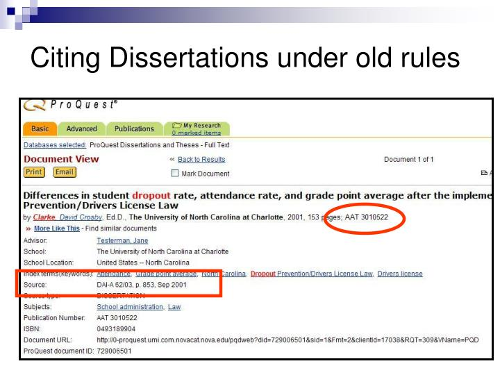Citing Dissertations under old rules