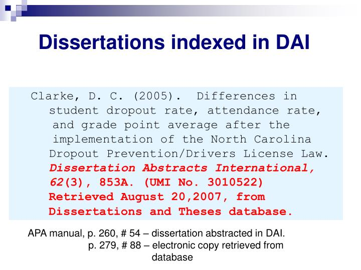 Dissertations indexed in DAI