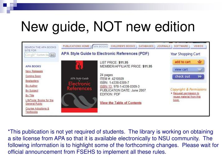 New guide, NOT new edition