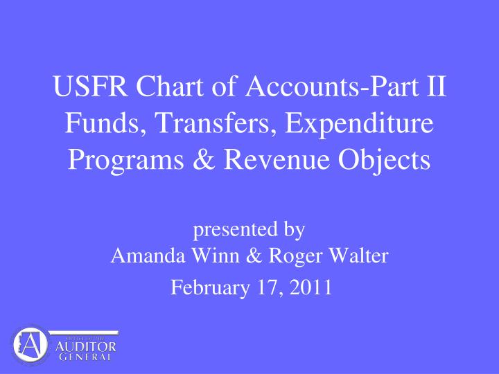 usfr chart of accounts part ii funds transfers expenditure programs revenue objects n.