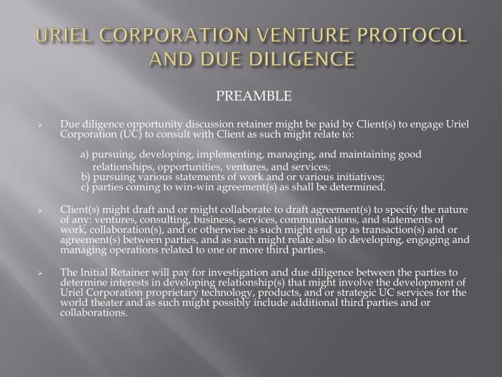 Uriel corporation venture protocol and due diligence1