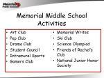 memorial middle school activities