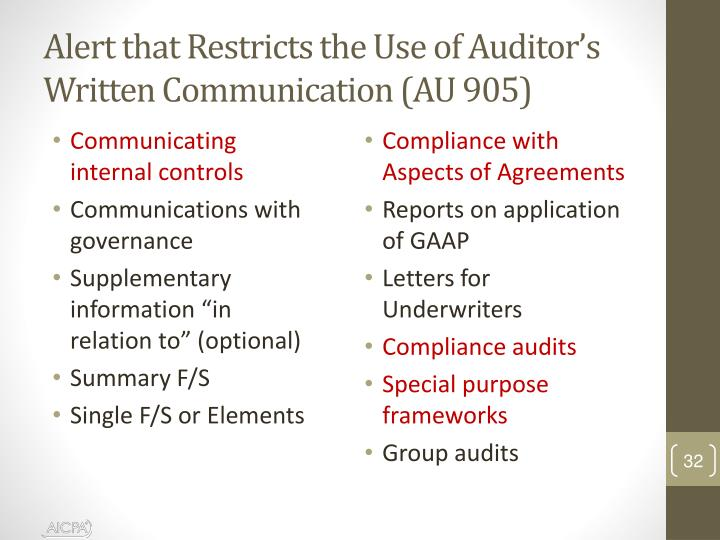 Alert that Restricts the Use of Auditor's Written Communication (AU 905)