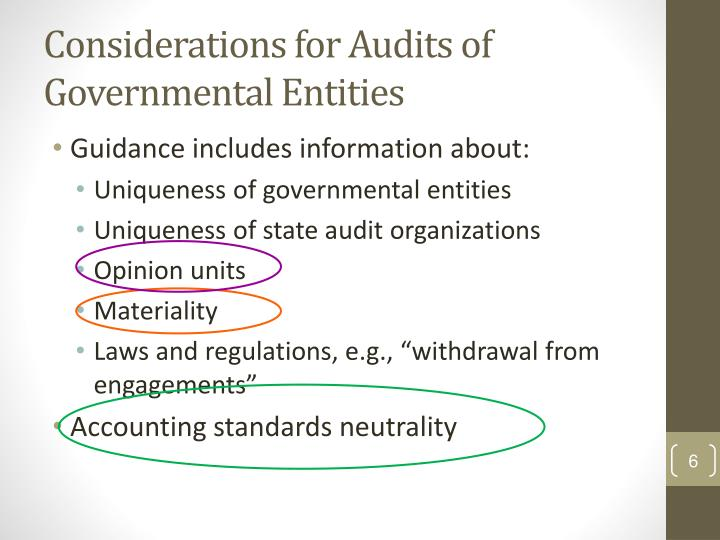 Considerations for Audits of Governmental Entities