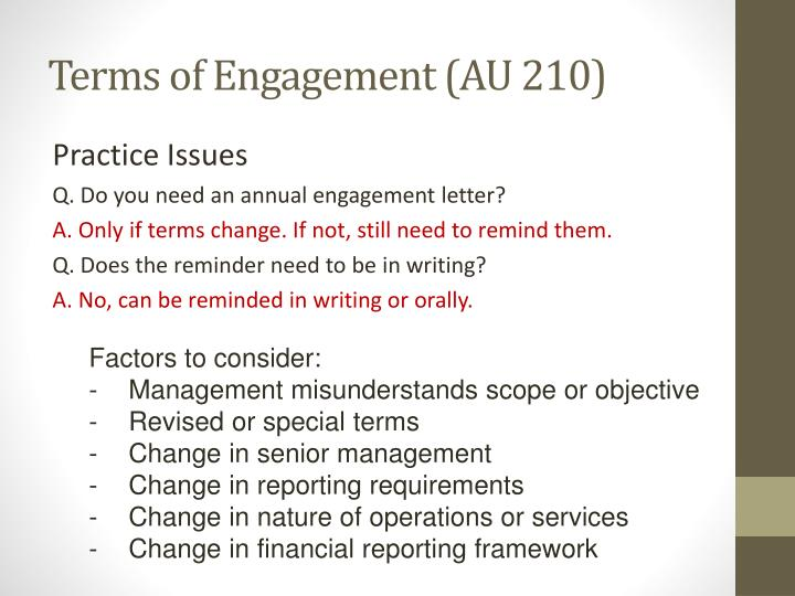 Terms of Engagement (AU 210)