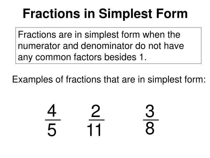 Fractions in Simplest Form