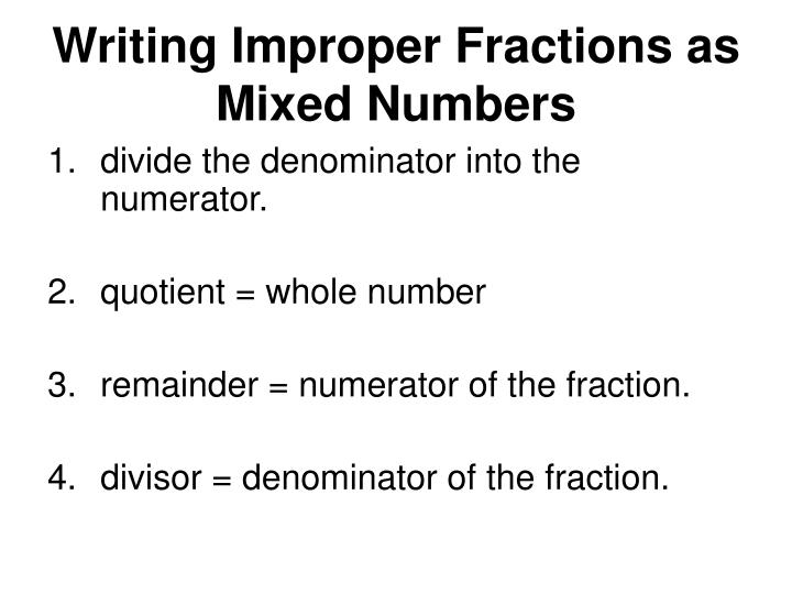 Writing Improper Fractions as Mixed Numbers