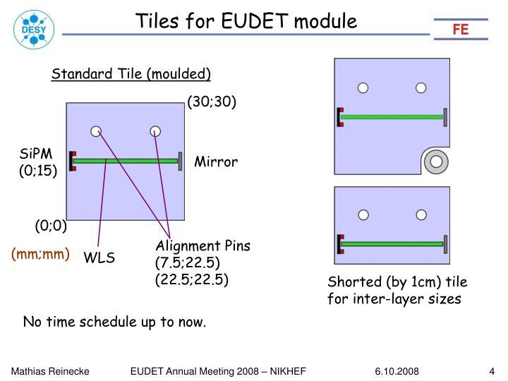 Tiles for EUDET module