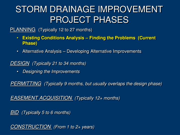 STORM DRAINAGE IMPROVEMENT PROJECT PHASES