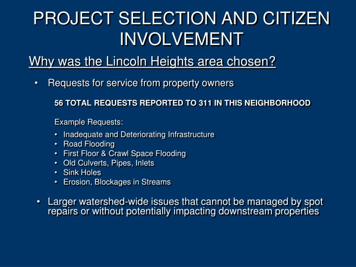 PROJECT SELECTION AND CITIZEN INVOLVEMENT