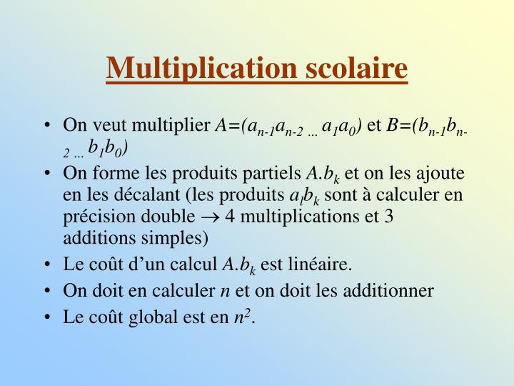 Multiplication scolaire