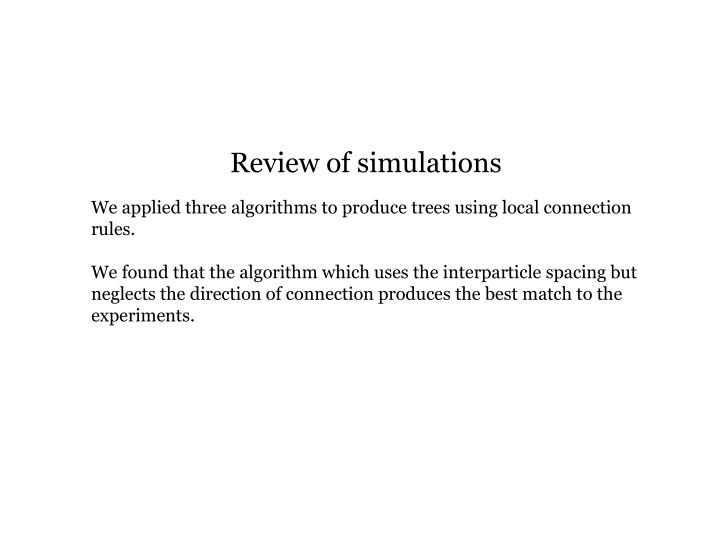 Review of simulations