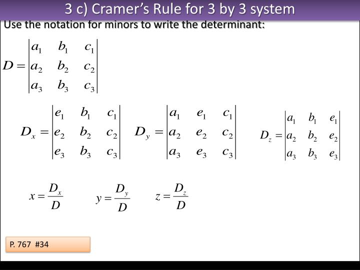 3 c) Cramer's Rule for 3 by 3 system