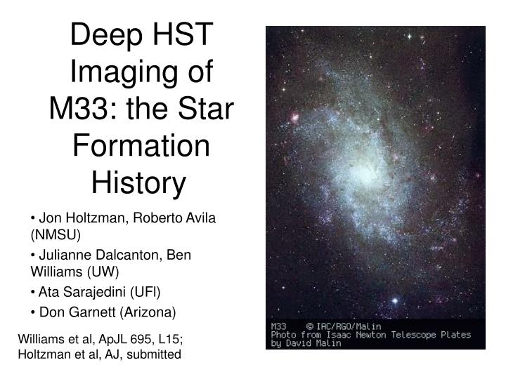 Deep hst imaging of m33 the star formation history