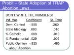 probit state adoption of trap abortion laws