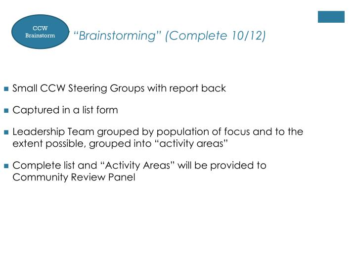 """CCW """"Brainstorming"""" (Complete 10/12)"""