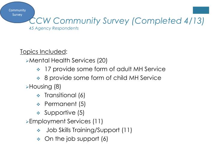 CCW Community Survey (Completed 4/13)