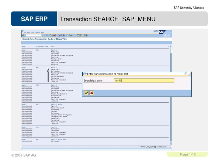Transaction SEARCH_SAP_MENU
