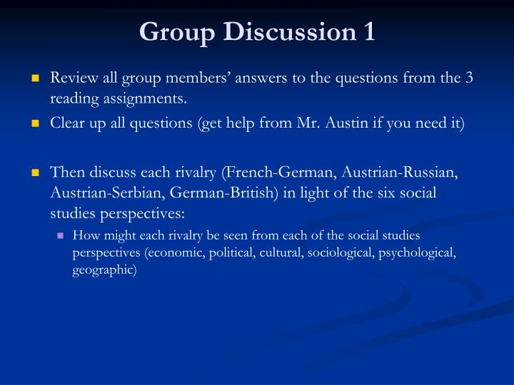 Group Discussion 1