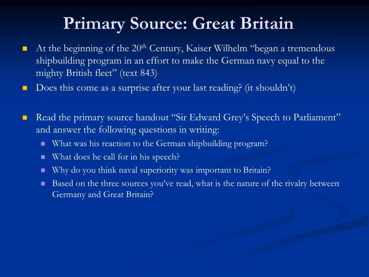 Primary Source: Great Britain