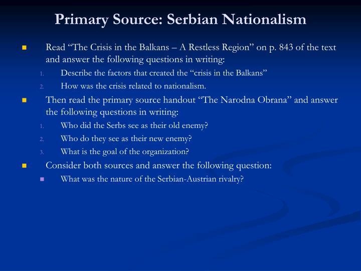 Primary Source: Serbian Nationalism