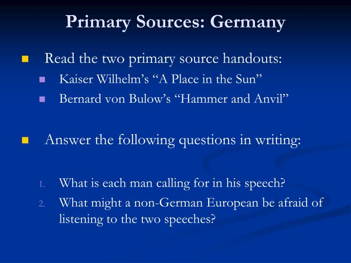 Primary Sources: Germany