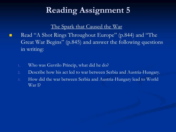 Reading Assignment 5