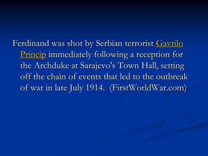 Ferdinand was shot by Serbian terrorist