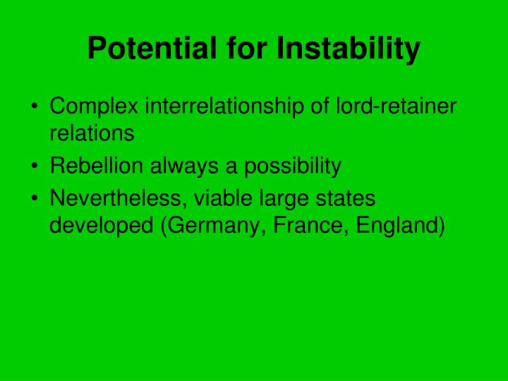 Potential for Instability
