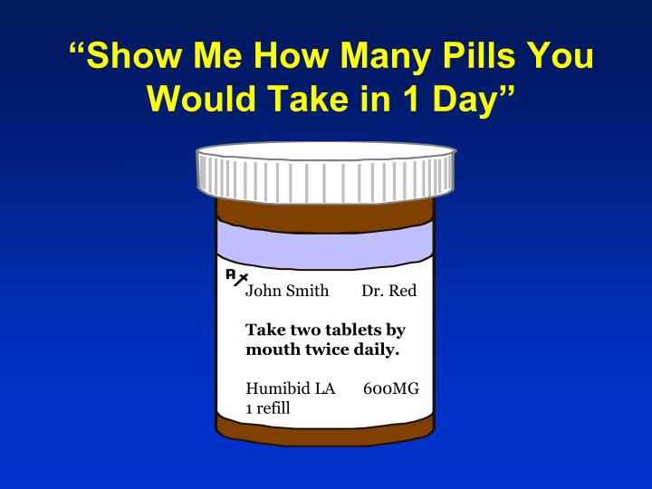 """Show Me How Many Pills You Would Take in 1 Day"""