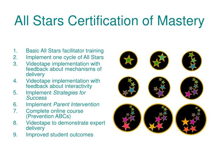 All Stars Certification of Mastery
